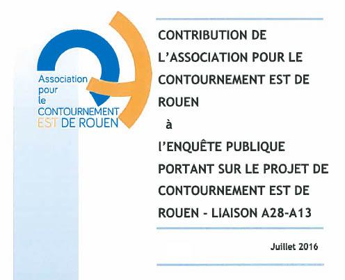 CONTRIBUTION DE L'ACER à l'ENQUÊTE PUBLIQUE PORTANT SUR LE PROJET DE CONTOURNEMENT EST DE ROUEN - LIAISON A28-A13